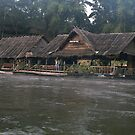 Raft Huts on the River Kwai - Thailand by Bev Pascoe