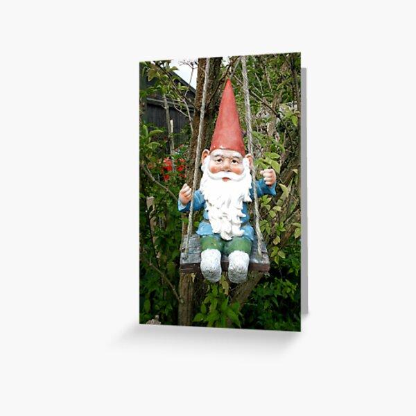 Swinging Gnome Greeting Card