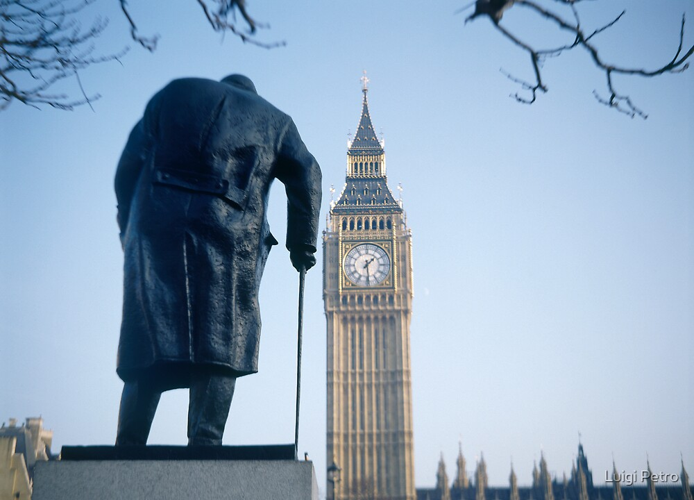 London Statue of Churchill and Big Ben In Parliament  Square by Luigi Petro