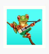Baum-Frosch, der indische Flaggen-Gitarre spielt Kunstdruck