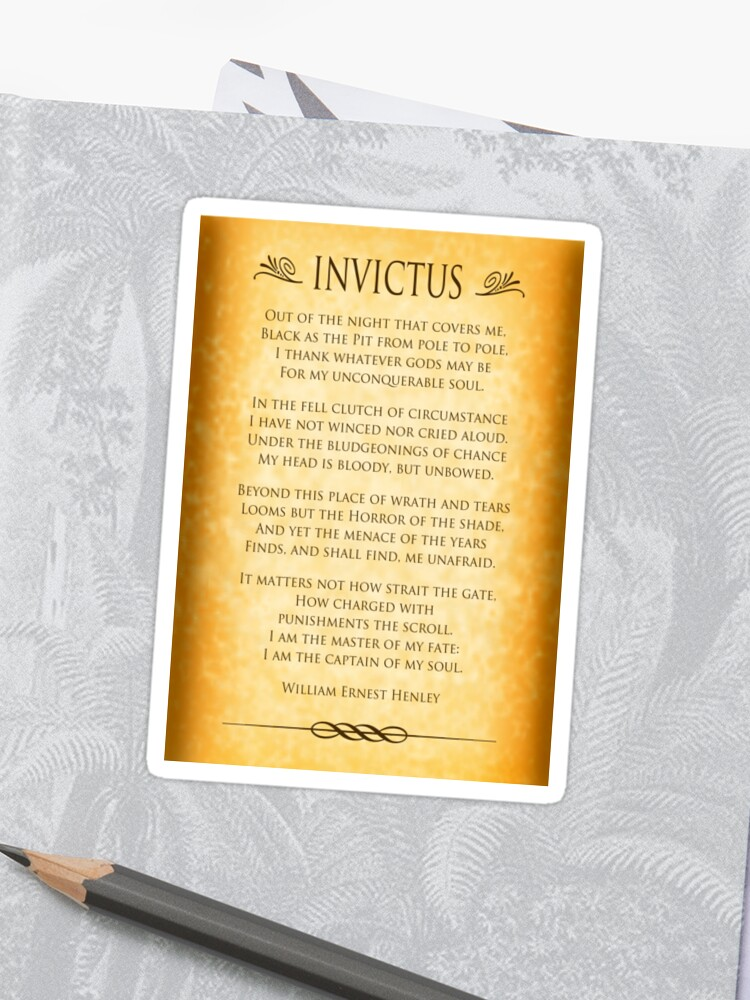 Invictus Parchment Design Sticker By Ginny Gaura