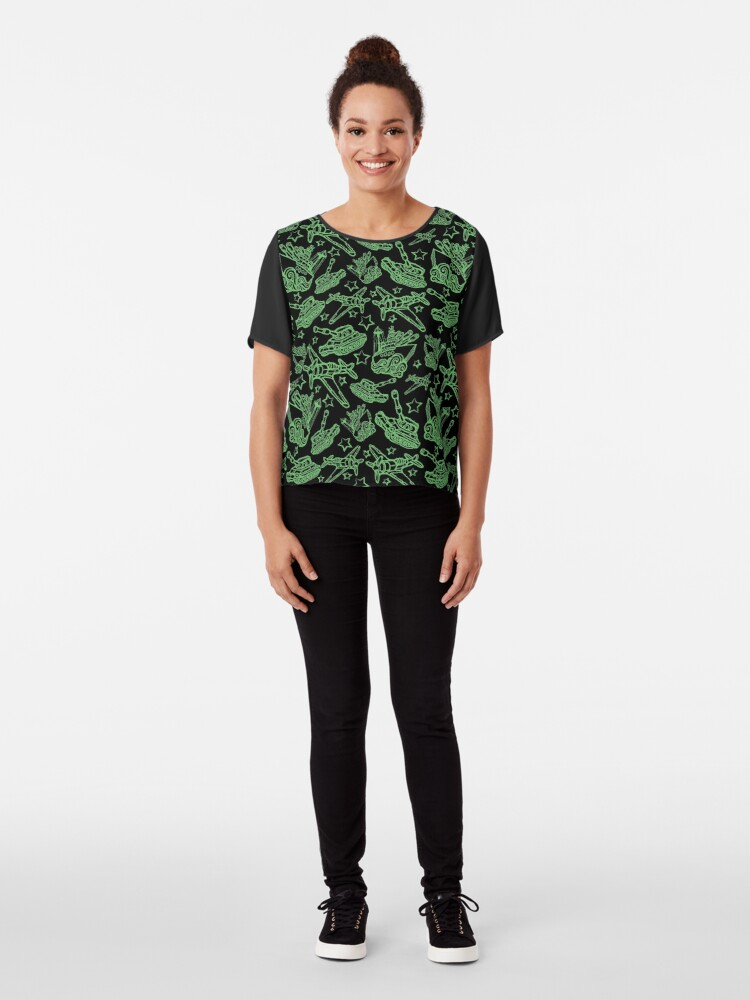 Alternate view of Military Forces Line Art  Chiffon Top