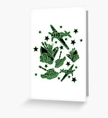 Military Forces Line Art  Greeting Card