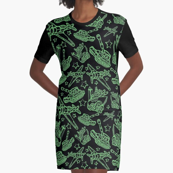 Military Forces Line Art  Graphic T-Shirt Dress