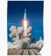 SpaceX Falcon Heavy Liftoff (8K Auflösung) Poster