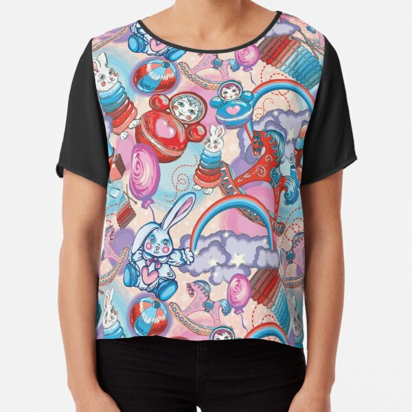 Children's Toys Colorful Cute Pattern and Illustration Chiffon Top