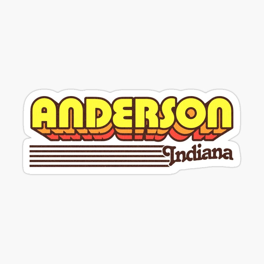 Anderson, Indiana | Retro Stripes Sticker