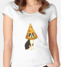 Boston Terrier Pizza Dog Women's Fitted Scoop T-Shirt