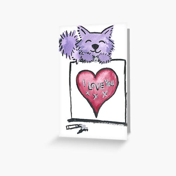 I love you - Purrple Kitty Greeting Card