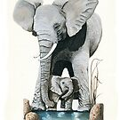 Elephants - original wildlife illustration for Healing the Planet by LindaAppleArt