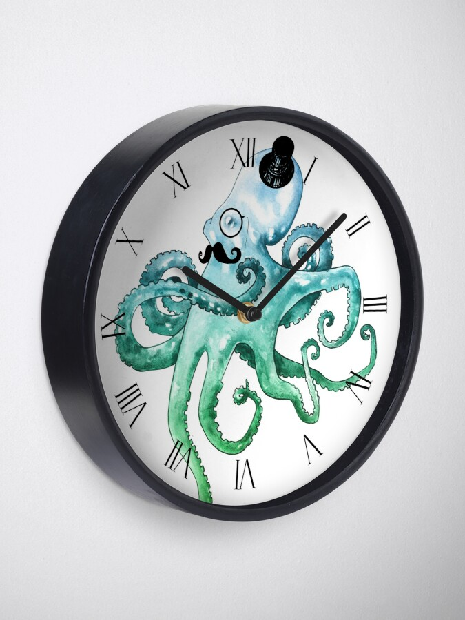 Alternate view of Dapper Octopus Clock