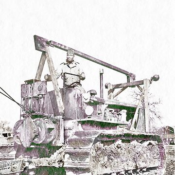 African American Driving Bulldozer WWII by dianegaddis