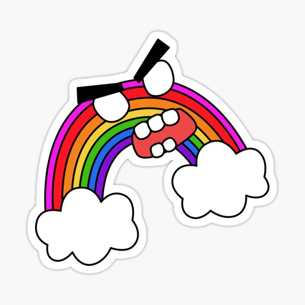 angry zombie rainbow Sticker
