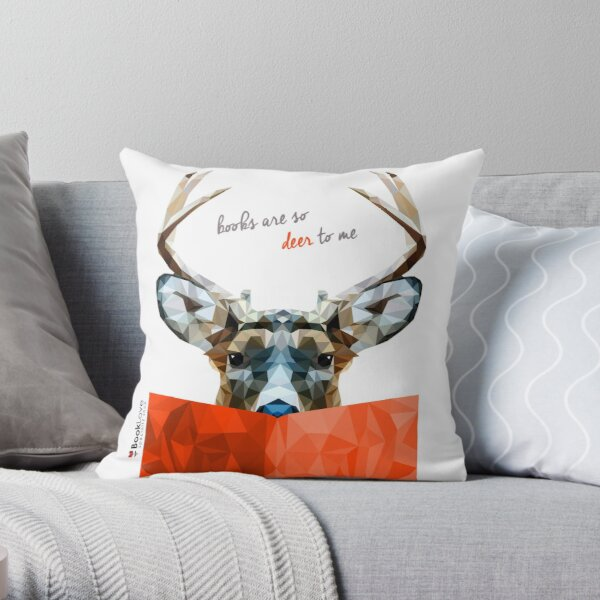 """""""Books are so deer to me"""" - Animal Booklove Throw Pillow"""