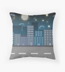 night city blue location illustration Throw Pillow