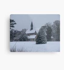 Snow Scene Church Metal Print