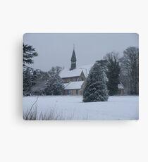 Snow Scene Church Canvas Print