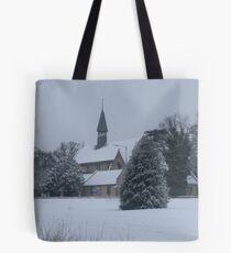 Snow Scene Church Tote Bag