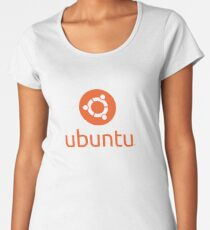 Official Ubuntu Stacked Logo Linux Operating System Women's Premium T-Shirt