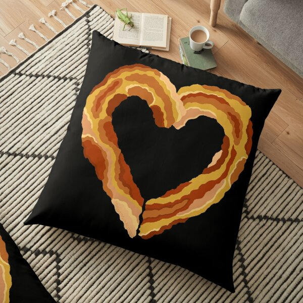 Bacon Heart Meat Lovers Funny Food Floor Pillow