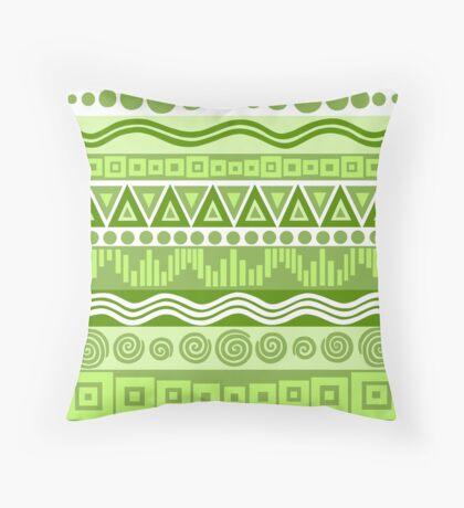 Boho Chic Tribal Greenery Pattern Throw Pillow