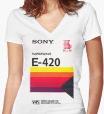 Vaporwave VHS Women's Fitted V-Neck T-Shirt