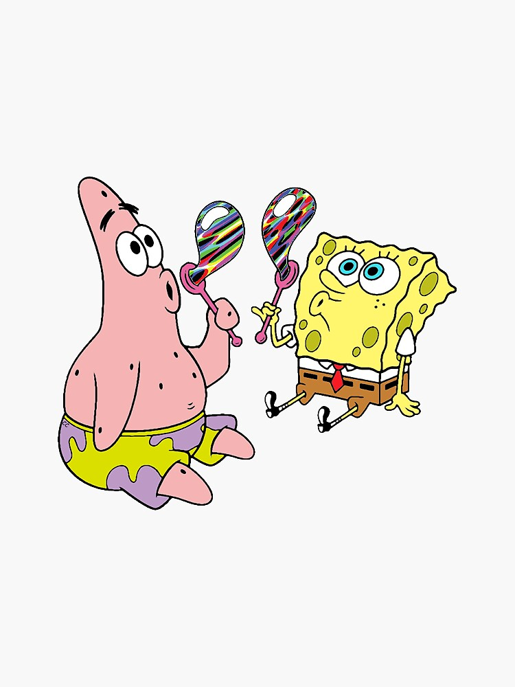 """Spongebob and Patrick Blow Trippy Bubbles"" Sticker by ..."