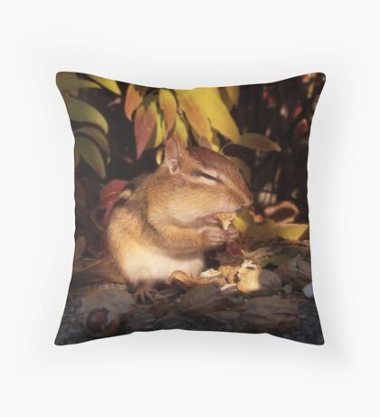 Chipmunk eating a peanut Throw Pillow