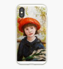 Portrait of a Girl with Flowers in the style of Renoir iPhone Case