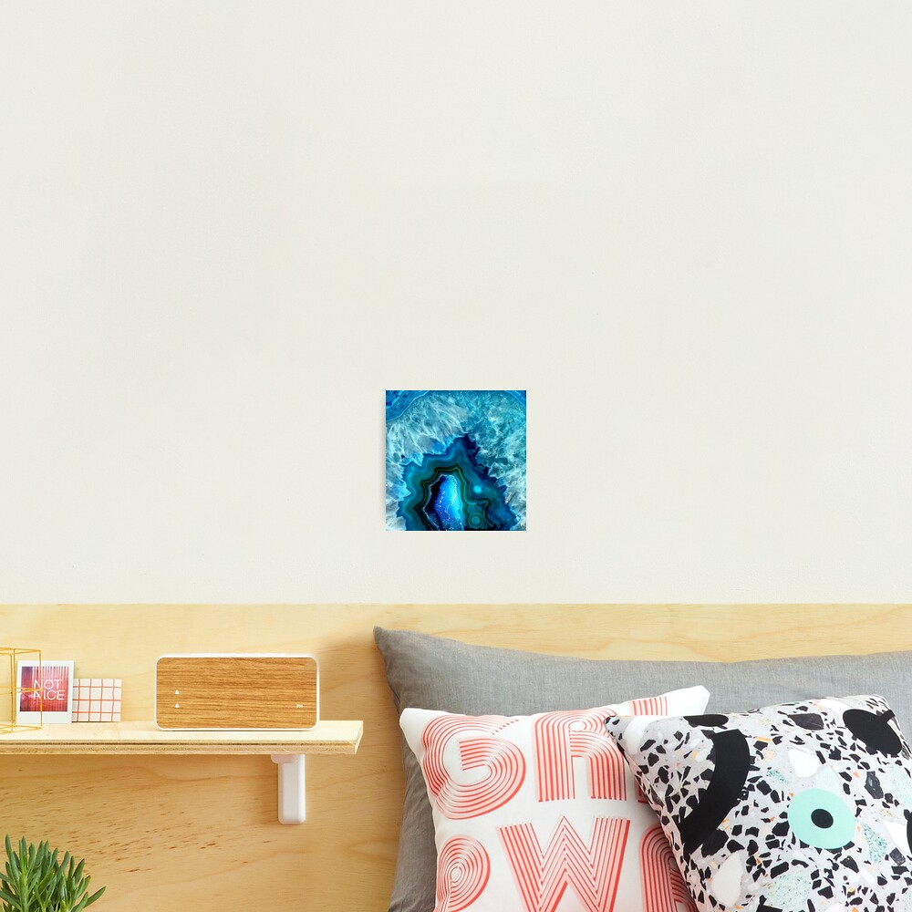 Teal Blue Agate Photographic Print