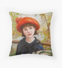 Portrait of a Girl with Flowers in the style of Renoir Throw Pillow
