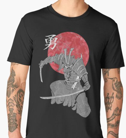 Samurai Warrior Katana Sword Kanji Moon  Men's Premium T-Shirt