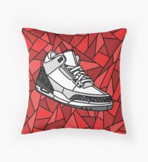 Jordan Cement 3, Stained Glass Sneaker design Throw Pillow