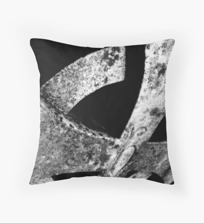 Cemetary Headstone Close-up Black&White Throw Pillow