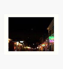 Bourbon Streetscape By Night Art Print