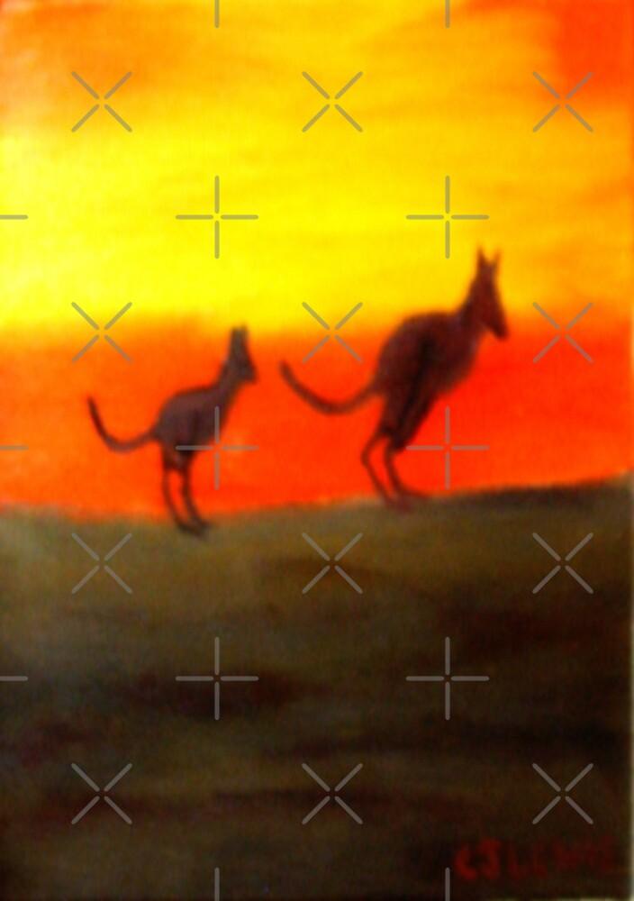 Roos @ Sunset, Australia.  by C J Lewis