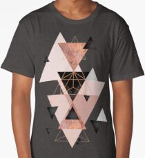 Geometric Triangles in blush and rose gold Long T-Shirt