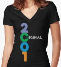 Original Born on Year 2001 Women's Fitted V-Neck T-Shirt