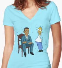 Obama Presidential Portrait Parody Featuring Homer and the Bush Women's Fitted V-Neck T-Shirt