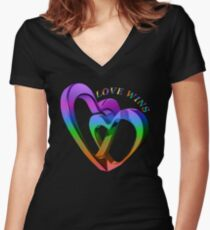 Love Wins Rainbow Hearts Equality Women's Fitted V-Neck T-Shirt