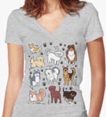 Camiseta entallada de cuello en V Perros lindos! 10 razas