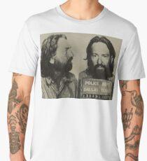 Willie Nelson Mug Shot Horizontal Sepia Mugshot Men's Premium T-Shirt