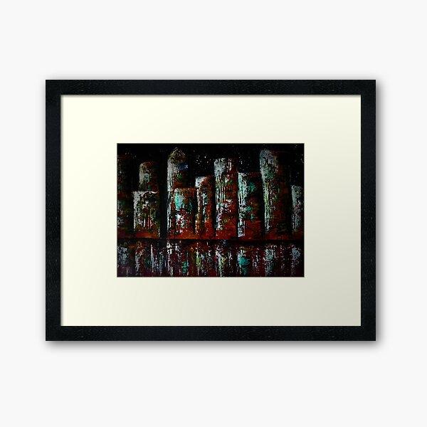 "Abstract ""City skyline at night"" Framed Art Print"