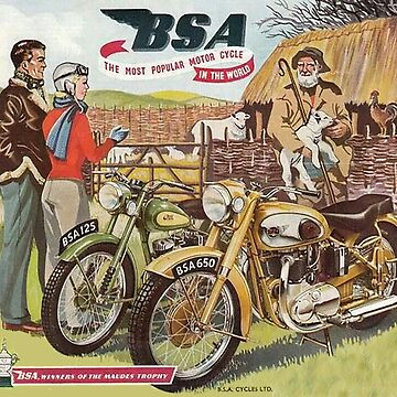 Vintage British BSA Motorcycle Poster - Circa 1950's by marlenewatson