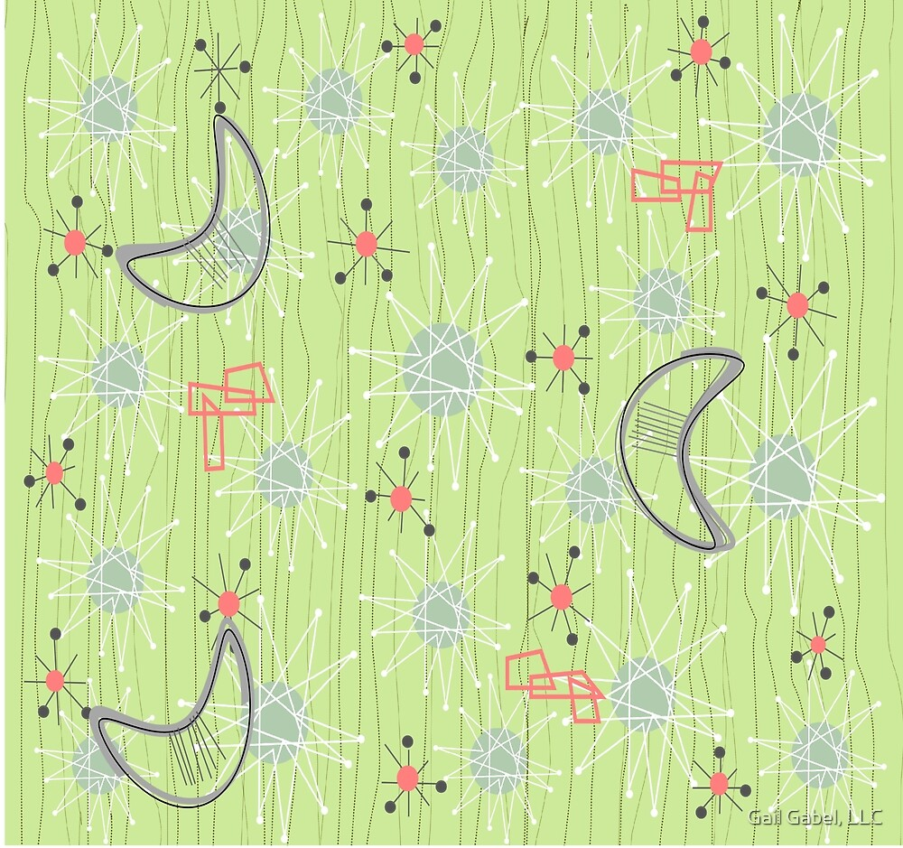 Boomerangs on Celery Green by Gail Gabel, LLC