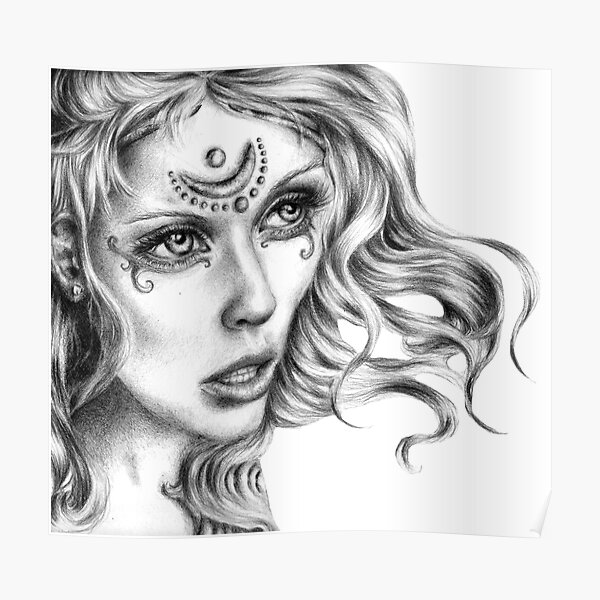 High Priestess Fantasy Art, Into the Future I See  Poster