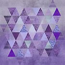 Glamorous Purple Faux Glitter And Foil Triangles by artsandsoul