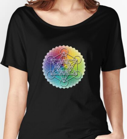 Flower Of Life Metatron's Cube Flower Mandala Women's Relaxed Fit T-Shirt
