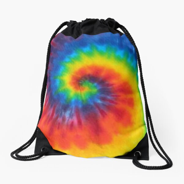 tie dye swirl rainbow Drawstring Bag