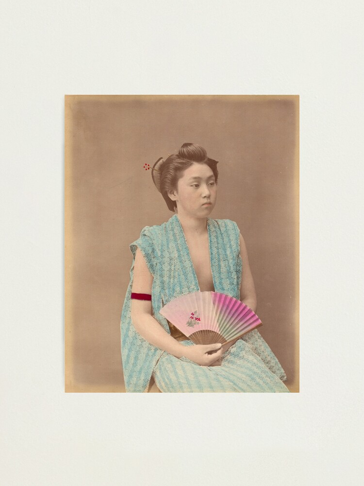 Alternate view of Japanese girl with fan Photographic Print